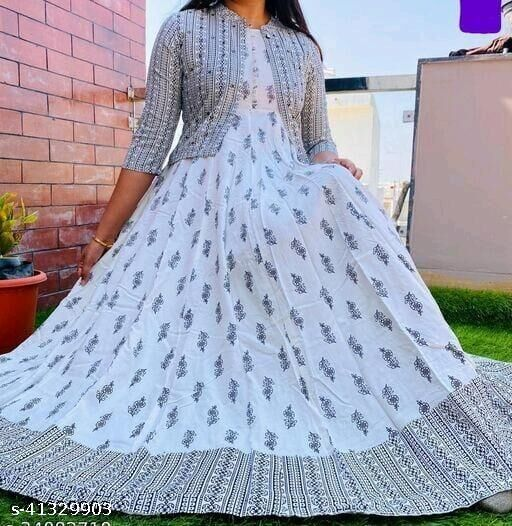RAYON ATTRACTIVE PRINTED LONG GOWN WITH SHORT PRINTED PREETY JACKET