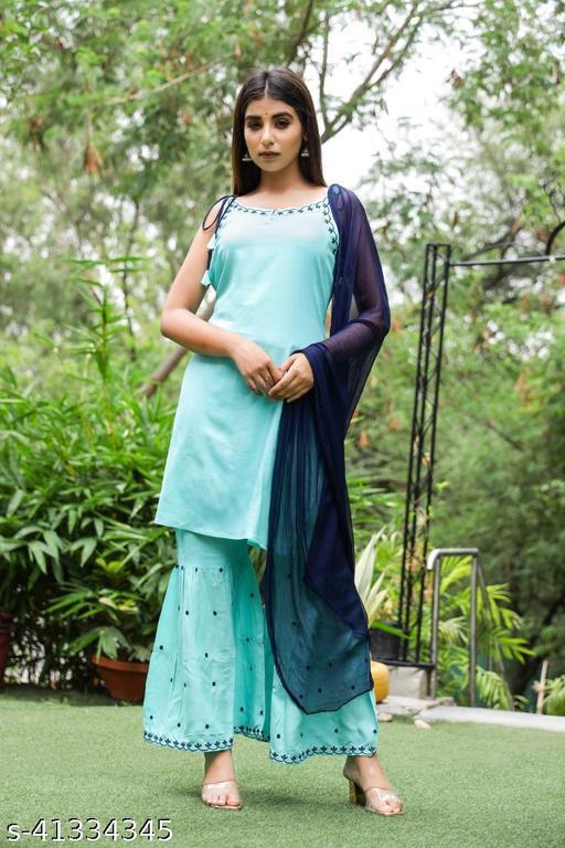Stylish Embroidered Rayon Sleveless Kurti with Sharara and Gharara with Full Length Dupatta