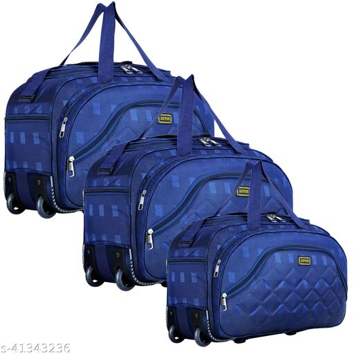 Combo Set of 3 Luggage Bag - (54 Cm) Unisex Expandable Flate Folding Travel Duffel Bag/Duffel Strolley Bag With Smooth Wheels