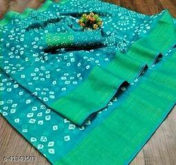 Bandhani Printed Zari woven Linen Cotton Saree with Blouse piece (Teal)