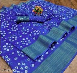 Bandhani Printed Zari woven Linen Cotton Saree with Blouse piece (royal Blue)