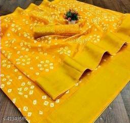 Bandhani Printed Zari woven Linen Cotton Saree with Blouse piece (Mustard)