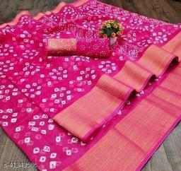 Bandhani Printed Zari woven Linen Cotton Saree with Blouse piece (Pink)