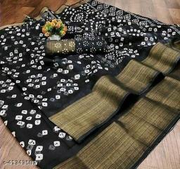 Bandhani Printed Zari woven Linen Cotton Saree with Blouse piece (Black)