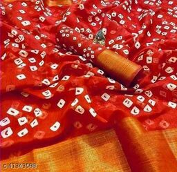 Bandhani Printed Zari woven Linen Cotton Saree with Blouse piece (red)