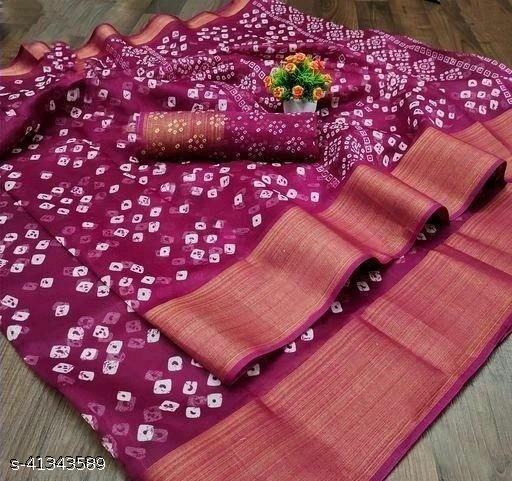 Bandhani Printed Zari woven Linen Cotton Saree with Blouse piece (wine)