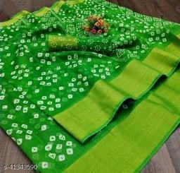 Bandhani Printed Zari woven Linen Cotton Saree with Blouse piece (green)