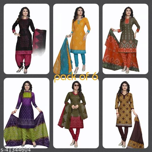 Pure Cotton Bandhani Printed Dress Materials with Pure Cotton Dupatta (set of 6)