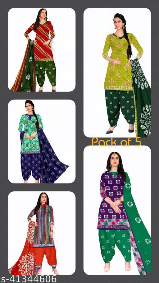 Pure Cotton Batik Printed Dress Materials with Pure Cotton Dupatta ( set of 5)
