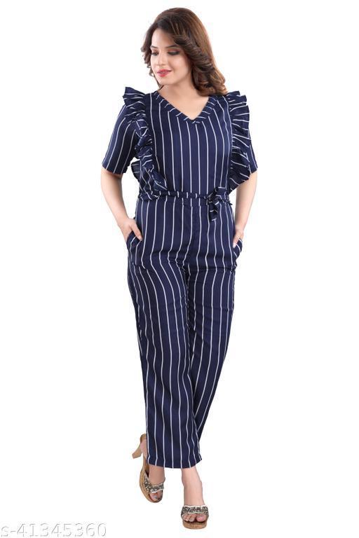 WOMENOIRE Women's Crepe Striped Jumpsuit