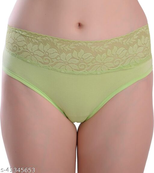 Women Hipster Green Cotton Blend Panty