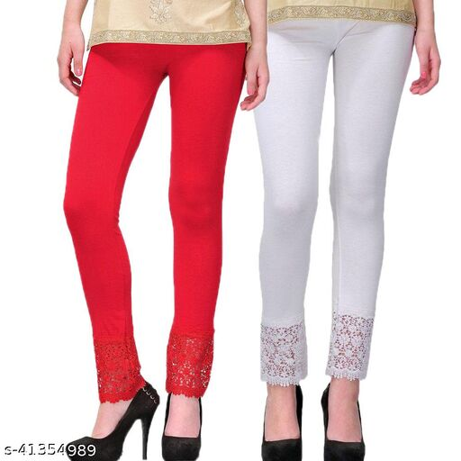 Women's Viscose Bottom Designer Lace Leggings Combo (Pack of 2) (Red and White) - Free Size