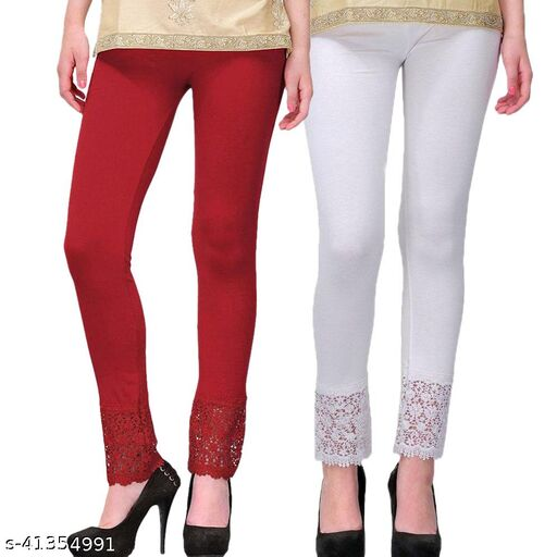 Women's Viscose Bottom Designer Lace Leggings Combo (Pack of 2) (Maroon and White) - Free Size