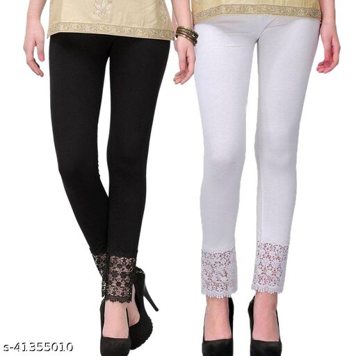 Women's Viscose Bottom Designer Lace Leggings Combo (Pack of 2) (Black and Red) - Free Size