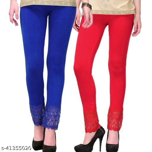Women's Viscose Bottom Designer Lace Leggings Combo (Pack of 2) (Blue and Red) - Free Size