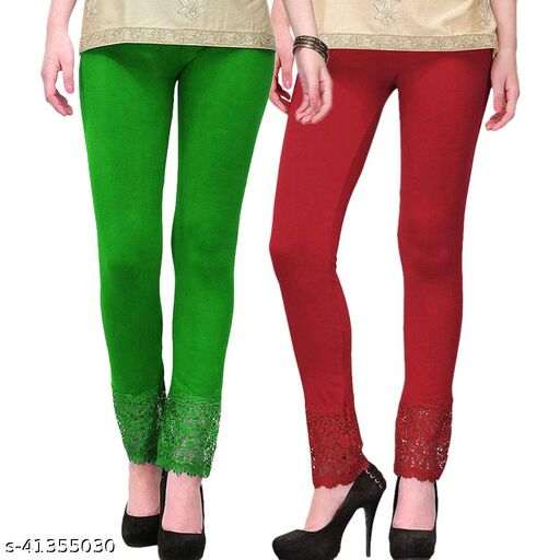 Women's Viscose Bottom Designer Lace Leggings Combo (Pack of 2) (Green and Maroon) - Free Size
