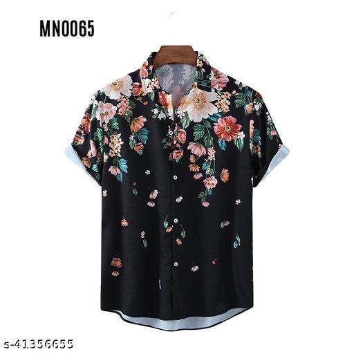 Piyora Men's Premium Cotton Black Color Party Wear Shirt