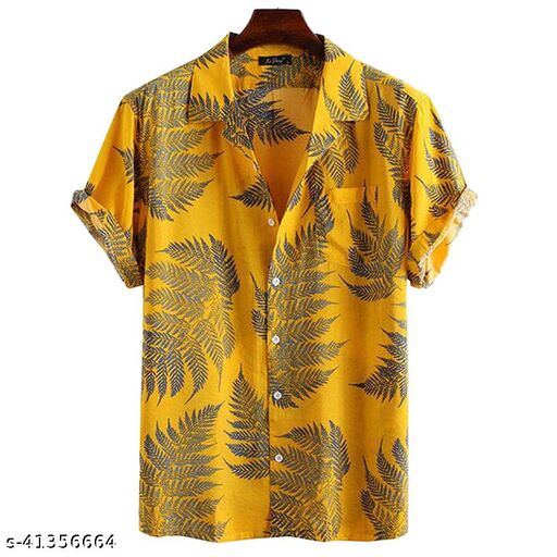 Piyora Men's Premium Cotton Mustard Color Party Wear Shirt