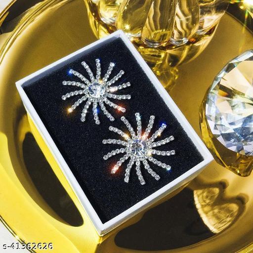 Arzonai  Needle Goddess of Fortune Sun Full Diamond Luxury Earrings New Trendy Stud Earrings Korean Exaggerated Earrings Women