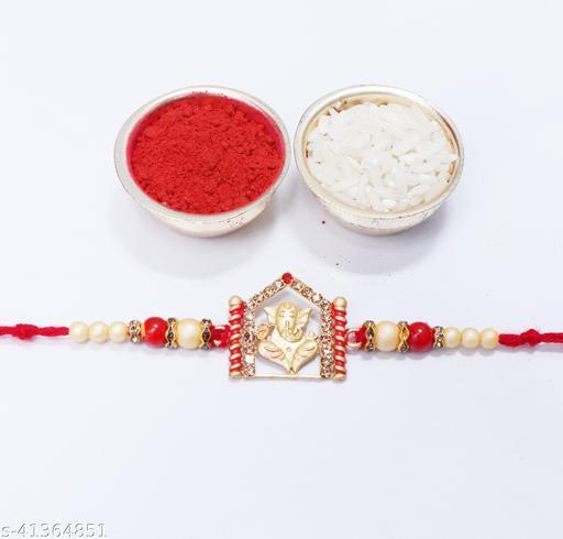 Ganesh Ji Pearl Temple Designer Rakhi Set Of 1 With ( Roli&Chawal )