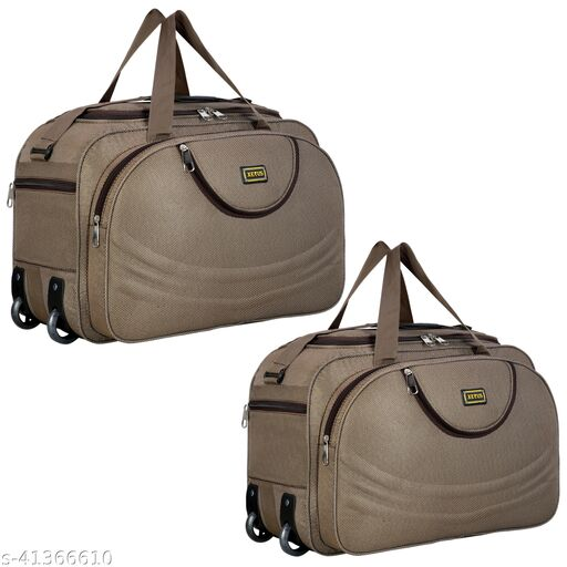 Combo Set of 2, Unisex Expandable (54 Cm) Flate Folding Travel Duffel Bag/Duffel Strolley Bag With Smooth 2 Wheels (Strolly)