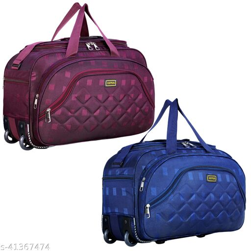 Combo Set of 2, Unisex Expandable (54 Cm) Flate Folding Travel Duffel Bag/Duffel Strolley Bag Guard Protected With Smooth 2 Wheels (Strolly)