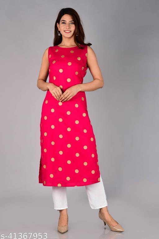 Women Polka Printed Rayon Straight Kurta (Pink)
