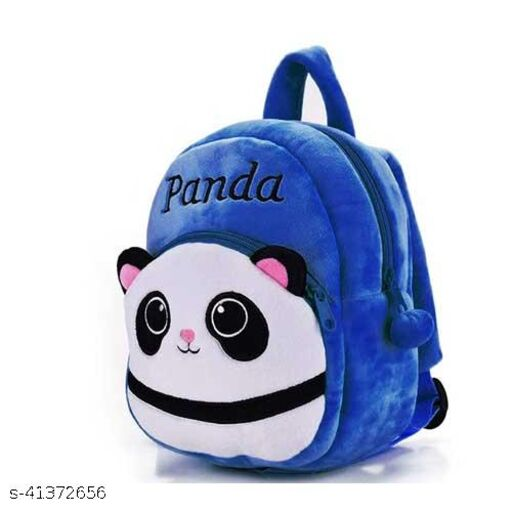 GOLAJI kids School Bag Fabric Backpack (BLUE Panda)