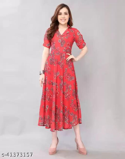 LOOKS18 Women's  Georgette Fit and Flare Red Dress