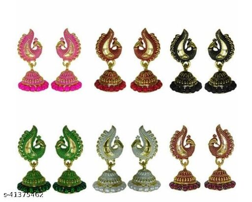 Combo Earrings of 6 Pairs Gold Plated Stylish Jhumka