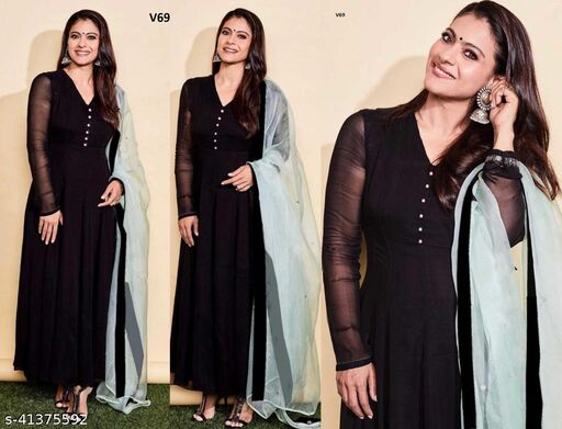 Attractive Black Colored Georgette Full Stitched Box Plated Partywear Floor Touch Gown With Pure Organza Dupatta