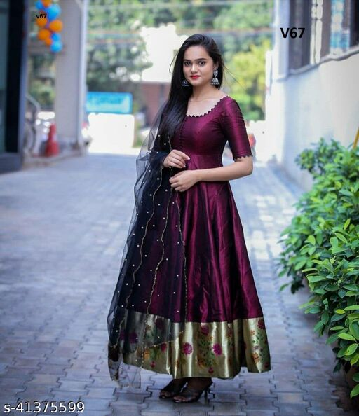 Exclusive Nack Pattern Purple Colored Tapetta Silk With Jacquard Fabric Ready Made Gown With Soft Net Pearl Work Dupatta