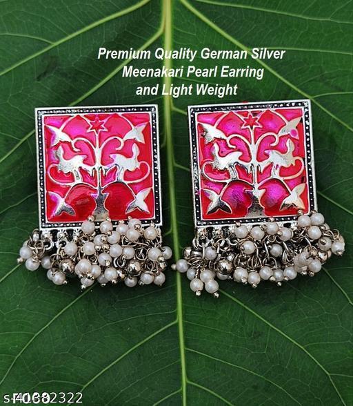 Premimum Quality Brass Metal Meenakari pearl Earrings - Silver Pink