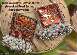 Premimum Quality Brass Metal Meenakari pearl Earrings - Silver Orange