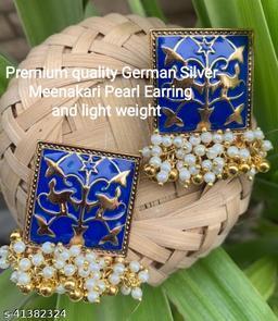 Premimum Quality Brass Metal Meenakari pearl Earrings - Golden Blue