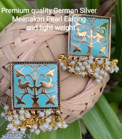 Premimum Quality Brass Metal Meenakari pearl Earrings - Golden Truquoise