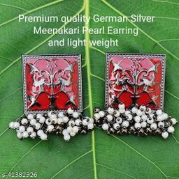 Premimum Quality Brass Metal Meenakari pearl Earrings - Black Red