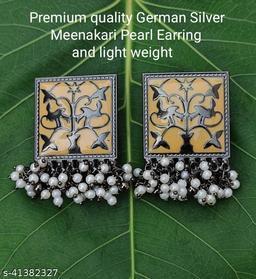 Premimum Quality Brass Metal Meenakari pearl Earrings - Black Yellow