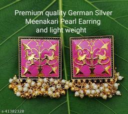 Premimum Quality Brass Metal Meenakari pearl Earrings - Golden Pink