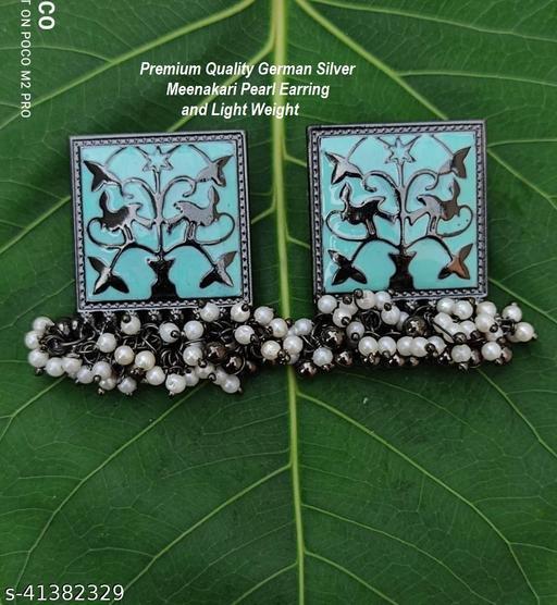Premimum Quality Brass Metal Meenakari pearl Earrings - Black Turquoise