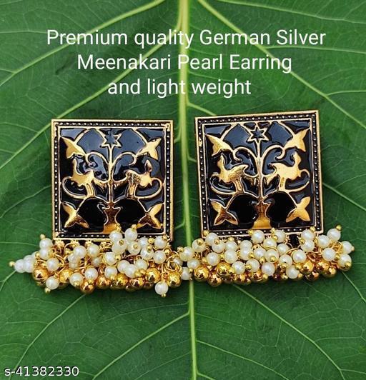 Premimum Quality Brass Metal Meenakari pearl Earrings - Golden Black