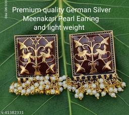 Premimum Quality Brass Metal Meenakari pearl Earrings - Golden Brown