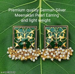 Premimum Quality Brass Metal Meenakari pearl Earrings - Golden Green