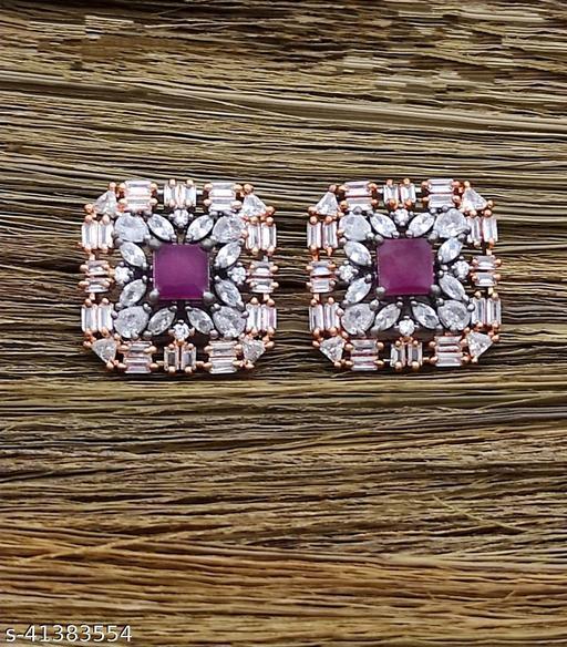 Elite & Eligent Double Tone American Diamond Big Studs