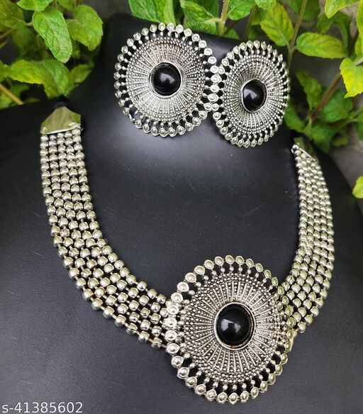 Oxidized Silver Color Black Stone Stud Choker Necklace Set With Earings