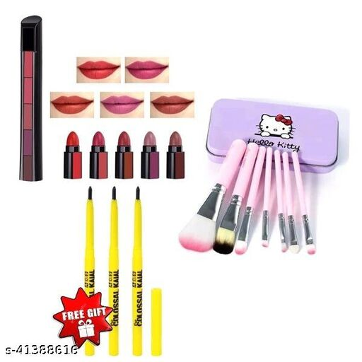 hello kitty brush set pack of 1+ colossal kajal pack of 3+matte perfect  5 in 1 lipstick pack of 1