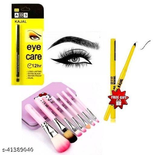 hello kitty brush set pack of 1+ads eye care kajal pack of 1+colossal kajal pack of 2
