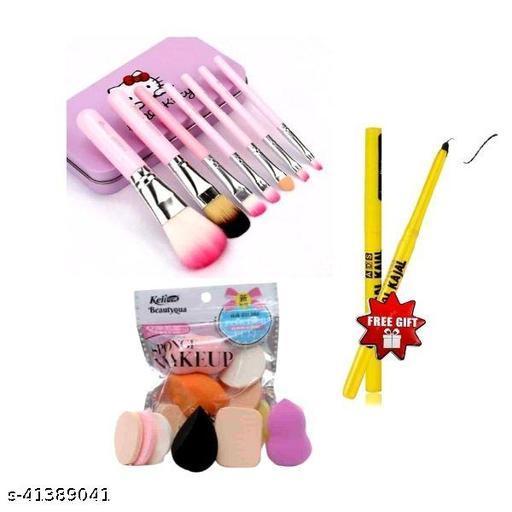 hello kitty brush set pack of 1+keli powder puff set pack of 1+colossal kajal pack of 2