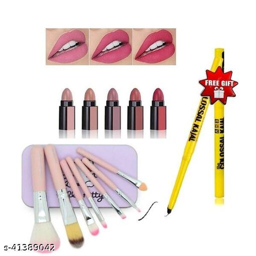 hello kitty brush set pack of 1+5 in 1 perfect lipstick pack of 1+colossal kajal pack of 2