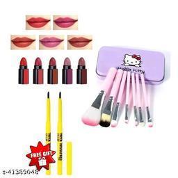 hello kitty brush set pack of 1+ colossal kajal pack of 2+matte perfect 5 in 1 lipstick pack of 1